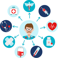 Medical emergency first aid health care icons set with doctor avatar vector illustration