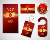 Vip members only premium golden exclusive cards red design template set isolated vector illustration