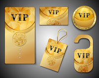 Vip members only premium golden elegant cards design template set isolated vector illustration