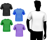 Colored round neck t-shirts male set with man silhouette isolated vector illustration