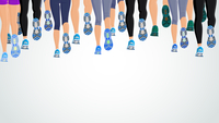 Group or running people legs back view background vector illustration