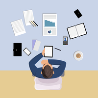 Office worker on table with papers top view vector illustration