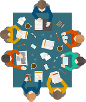 Flat style office workers business management meeting and brainstorming on the square table in top view vector illustration 60016003107| 写真素材・ストックフォト・画像・イラスト素材|アマナイメージズ
