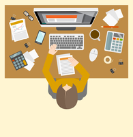 Office business accountant management workplace with female person investment growth computer icons vector illustration 60016003108| 写真素材・ストックフォト・画像・イラスト素材|アマナイメージズ