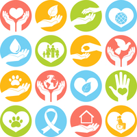 Charity donation social services and volunteer white round buttons set isolated vector illustration