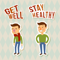 Sick and healthy man sticker characters isolated vector illustration
