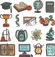 Retro school education colored sketch icons set of graduation hat book calculator isolated vector illustration 60016003136| 写真素材・ストックフォト・画像・イラスト素材|アマナイメージズ