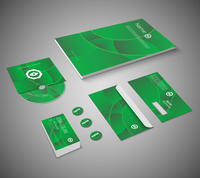 Green abstract business company stationery template for corporate identity and branding set isolated vector illustration