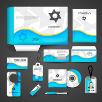Blue paper business style stationery layout template corporate design set isolated vector illustration