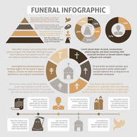 Funeral homes undertaking ceremonial service development infographics diagrams report table with chistian church burial symbols