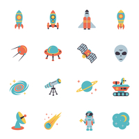 Space icons set of rocket ufo galaxy and planet vector illustration