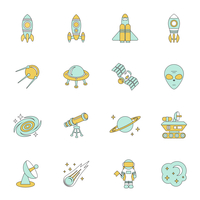 Space line icons set of moon star planet and spacestation vector illustration