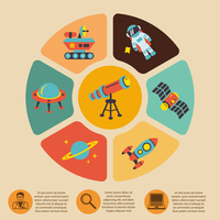 Space icons infographics of rocket astronaut planet and technology with description vector illustration