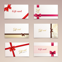 Gift cardboard paper cards set with red bows and ribbons vector illustration
