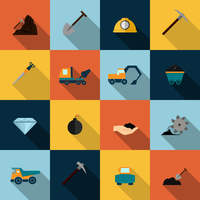 Underground mining mineral industry flat icons set isolated vector illustration