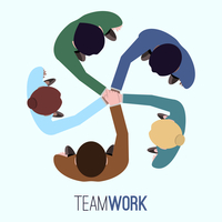 Business team teamwork concept top view people vector illustration