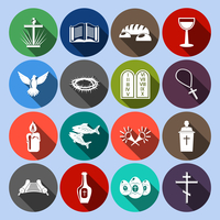 Christianity traditional religious symbols flat icons set with cross bible goblet isolated vector illustration 60016003201| 写真素材・ストックフォト・画像・イラスト素材|アマナイメージズ