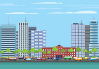 Modern urban building on street cityscape skyline vector illustration 60016003206| 写真素材・ストックフォト・画像・イラスト素材|アマナイメージズ