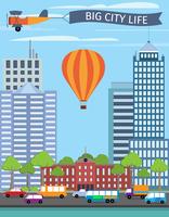 Modern urban building big city life poster with balloon vector illustration 60016003207| 写真素材・ストックフォト・画像・イラスト素材|アマナイメージズ