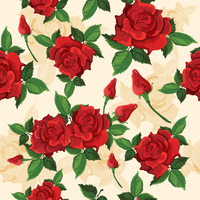 Bright red voluptuous fully opened roses retro seamless pattern for gift and presents wrapping paper vector illustration 60016003221| 写真素材・ストックフォト・画像・イラスト素材|アマナイメージズ