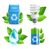 Ecology and waste colored icons set of trash can lightbulb water drop battery isolated vector illustration