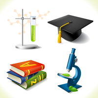 Realistic education icons set of laboratory flask graduation hat book microscope isolated vector illustration 60016003230| 写真素材・ストックフォト・画像・イラスト素材|アマナイメージズ