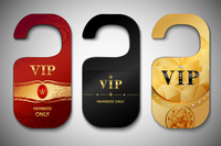Vip red black and golden door tags set isolated vector illustration