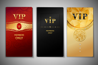 Vip red black and golden premium cards set isolated vector illustration