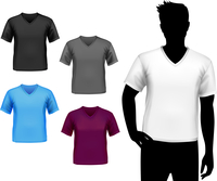 Colored v-neck fashion t-shirts male set with man silhouette isolated vector illustration