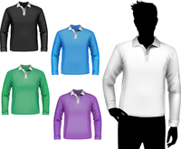 Colored polo long sleeve t-shirts male set with man body silhouette isolated vector illustration