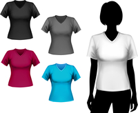 Colored v-neck t-shirts female set with woman body silhouette isolated vector illustration