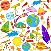Space and astronomy planets and rockets hand drawn colored seamless pattern vector illustration