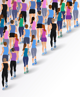 Group or running people back view background vector illustration