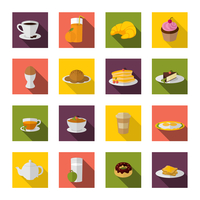 Breakfast food and drink icon flat set with bacon and eggs pancakes isolated vector illustration 60016003289| 写真素材・ストックフォト・画像・イラスト素材|アマナイメージズ