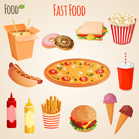 Fast junk food icons flat set of french fries hamburger soda drink isolated vector illustration 60016003294| 写真素材・ストックフォト・画像・イラスト素材|アマナイメージズ