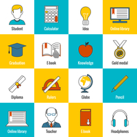 Education school university e-learning flat line icons set with ruler ebook diploma and isolated vector illustration 60016003327| 写真素材・ストックフォト・画像・イラスト素材|アマナイメージズ