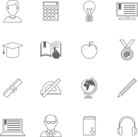 Education school and online resources outline icons set of pencil globe ebook isolated vector illustration 60016003334| 写真素材・ストックフォト・画像・イラスト素材|アマナイメージズ