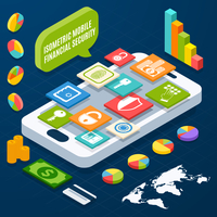 Isometric financial security and business elements with smartphone vector illustration