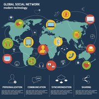 Social network icons flat set with world map and internet elements isolated vector illustration 60016003346| 写真素材・ストックフォト・画像・イラスト素材|アマナイメージズ