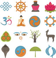 Buddhism church traditional symbols icons set isolated vector illustration