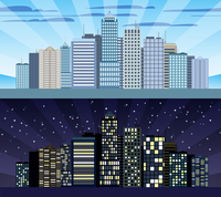 Modern urban building cityscape skyline day and night tileable borders set isolated vector illustration 60016003383| 写真素材・ストックフォト・画像・イラスト素材|アマナイメージズ