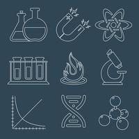 Physics education science laboratory equipment  scientific outline icons set isolated vector illustration 60016003384| 写真素材・ストックフォト・画像・イラスト素材|アマナイメージズ