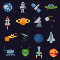 Space and astronomy icons set of rocket satellite earth alien isolated vector illustration