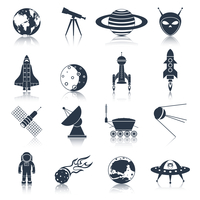 Space and astronomy black icons set with globe telescope alien isolated vector illustration