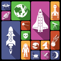 Space and astronomy flat icons set with rocket spaceman flying saucer isolated vector illustration