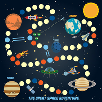 Space quest game with start finish and astronomy icons on background vector illustration