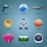 Space computer game play elements icons set isolated vector illustration