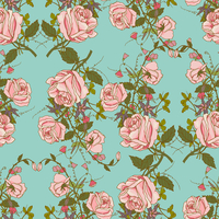 Vintage nostalgic beautiful roses bunches composition romantic floral wedding gift wrapping paper seamless pattern color vector  60016003416| 写真素材・ストックフォト・画像・イラスト素材|アマナイメージズ