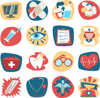 Hospital medical health care first aid icons set isolated vector illustration