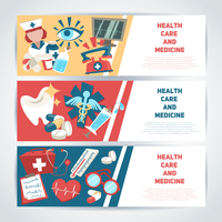 Health care and medicine medical horizontal banners set isolated vector illustration.